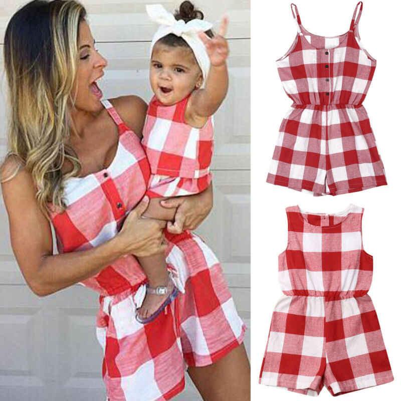 Anne kızı aile eşleştirme kıyafetler giysileri ekose ebeveyn-çocuk elbise bebek kız anne Romper moda yaz kadın çocuk kostüm