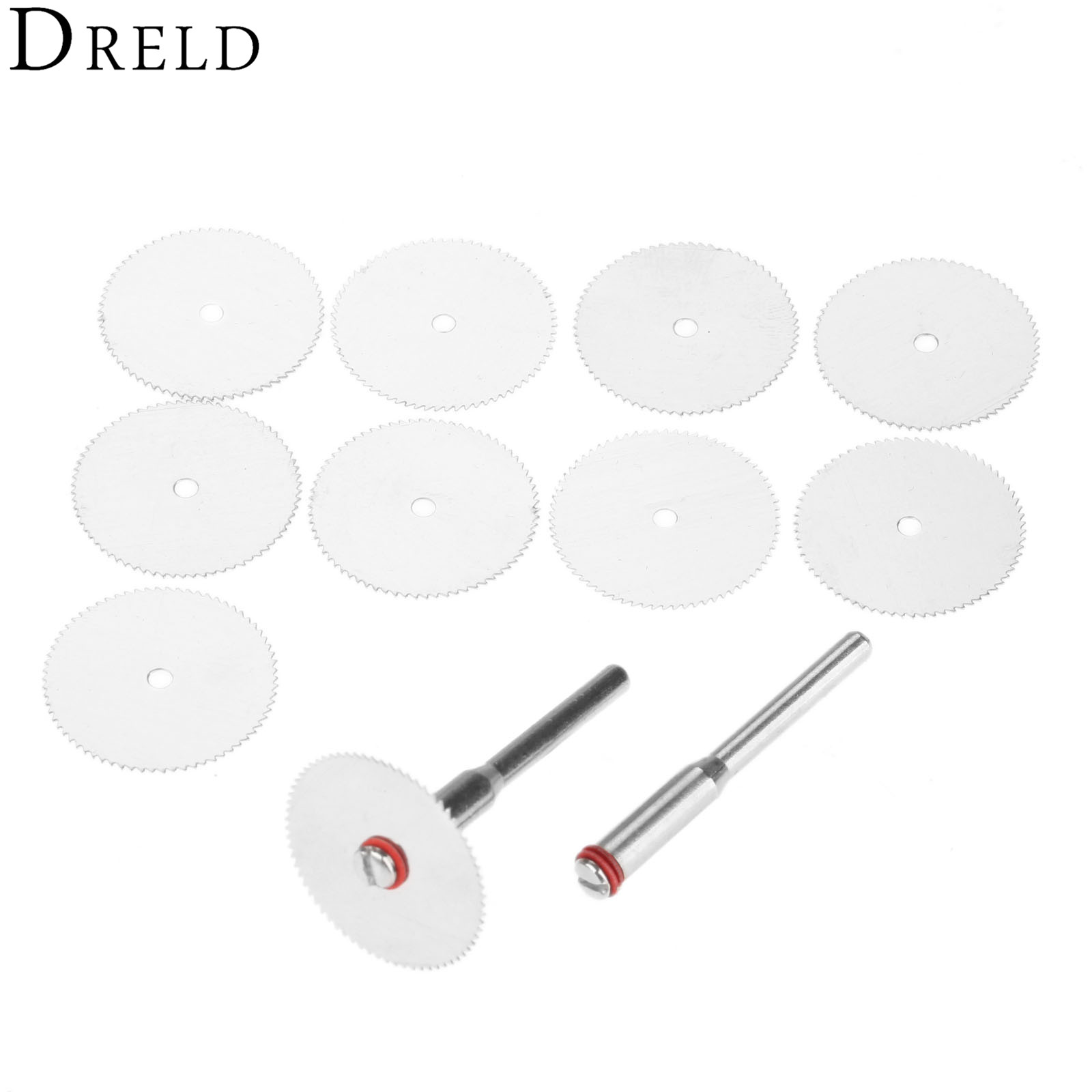 DRELD 10Pcs Dremel Accessories 22mm Cutting Disc Stainless Steel Cut Off Wheel With 2 Mandrels For Mini Drill Rotary Tool