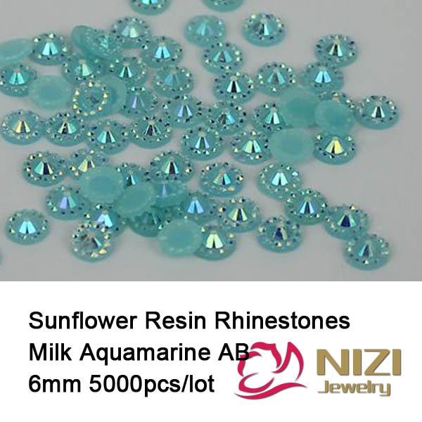 Non Hotfix Glue On Resin Rhinestones 6mm 5000pcs Flatback Round Glitter Beads Milk Aquamarine AB DIY Nail Art Garment Decoration