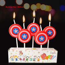 superhero candle decoration birthday party supplies children baby 1 captain america shield cake