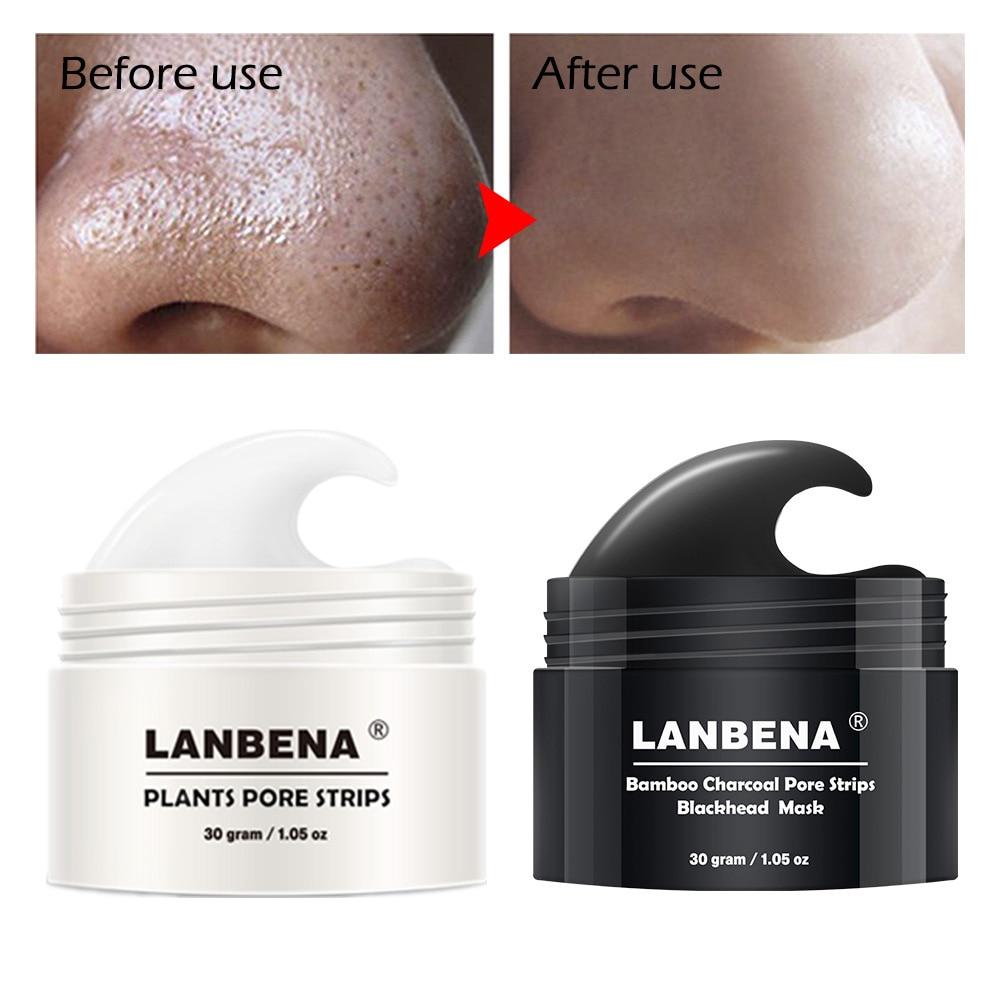 LANBENA 2Pcs במבוק Charcoa פצע רצועות Blackhead - טיפוח העור