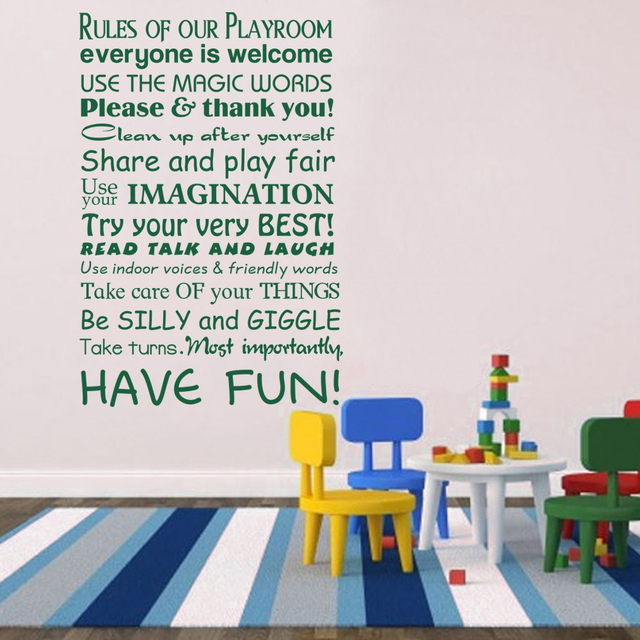 Rules Of Our Playroom Playroom Rules Wall Decal Kid Room Decal Baby Nursery Wall  Decal Children