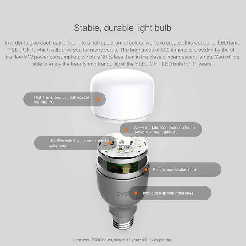 دروبشيبينغ ل شياو mi mi Yeelight 9W RGB E27 LED اللاسلكية WIFI التحكم إضاءة ذكية المصباح الكهربي AC220V الذكية أتمتة المنزل
