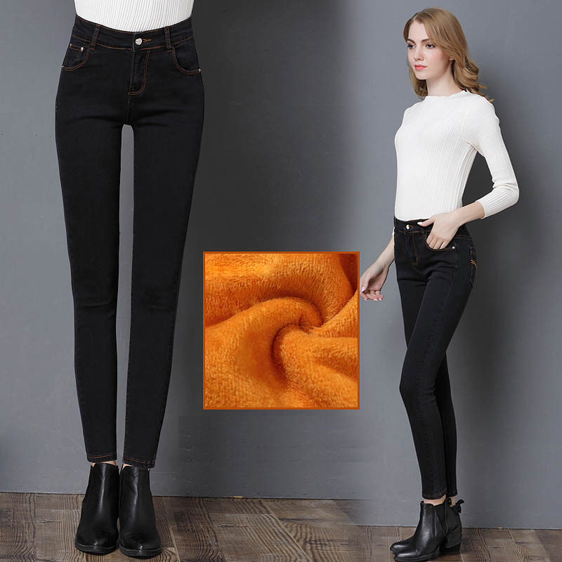 26-32 size New Winter Female long jeans Velvet Elastic Pencil Pants Women Skinny Jean pants Blue Black Capris Girl Warm Winter lole капри lsw1349 lively capris xl blue corn