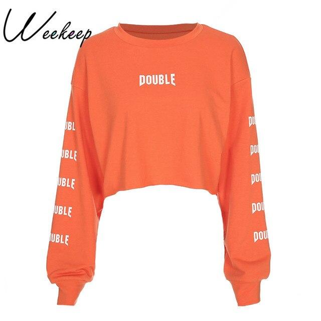 1682b9954d8 Weekeep Cropped Long Sleeve Hoodie Women Cropped Orange Letter Print Loose  Sweatshirt Pullovers 2018 Streetwear O-neck Hoodies