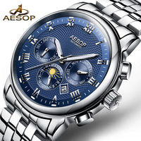 AESOP Fashion Men Watch Men Blue Automatic Mechanical Wrist Wristwatch Stainless Steel Male Clock Relogio Masculino