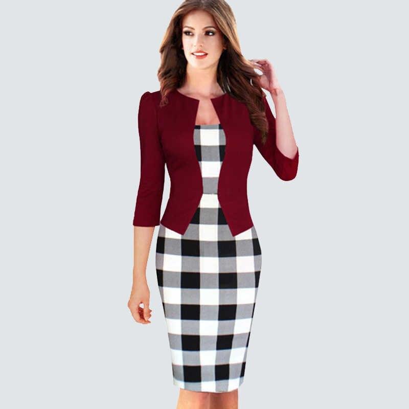 6bf60ce3a4c6ccf ... Цельный псевдожакет женское клетчатое офисное платье женское осень-зима  винтажные наряды леди Bodycon Карандаш приталенные ...