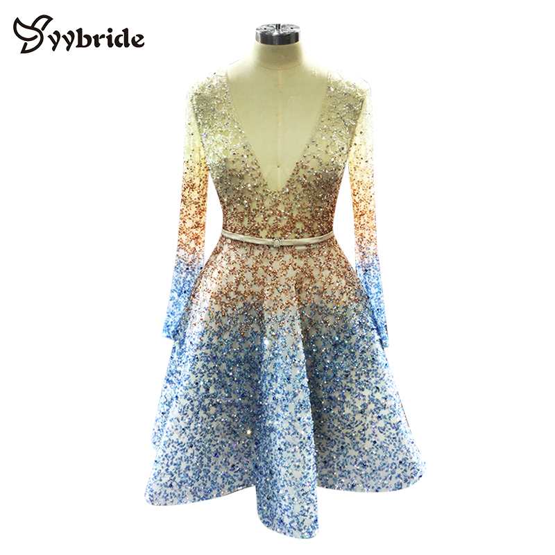 Newest Luxury Formal A-Line Mini Sexy Party Dresses Beaded Crystals V-Neck Homecoming Dresses Multicolor Gradient Prom Dresses