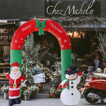 Inflatable Arch Santa Claus Snowman Xmas Outdoors Ornament Shop Yard Decor Christmas Yard Garden Decoration for Home