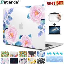 5 in 1 Set Floral Print Matte Case For Apple MacBook Pro Air 11 12 13 15 touch bar 2018 A1932 A1706 Hard Cover with Free Gift поло print bar watchtower in evening