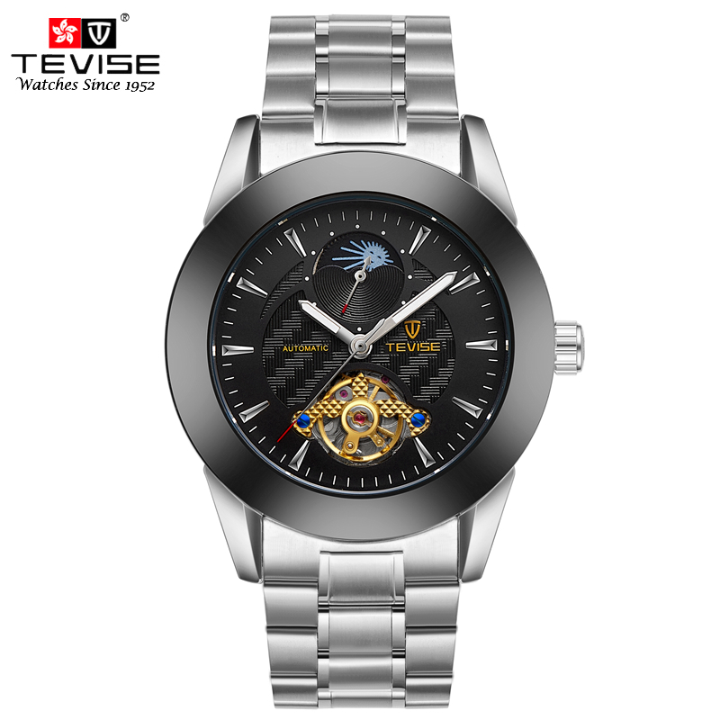 TEVISE Automatic Mechanical Self Wind Watches Men Stainless Steel Bracelet Watch Male Wristwatch Tourbillon Moon Phase Clock купить дешево онлайн