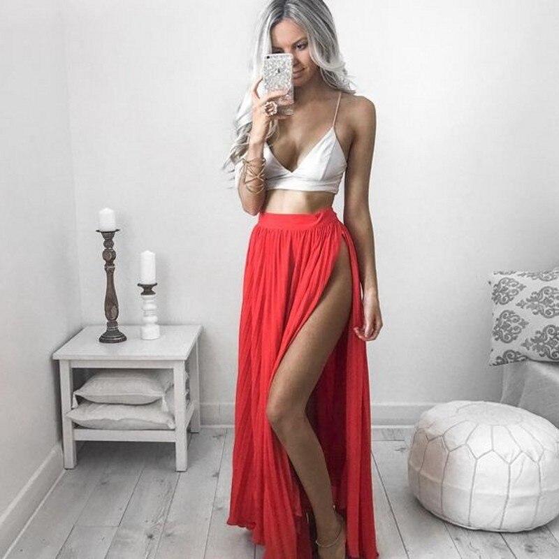 Hot Sexy Red Skirts Women Floor Length A Line Long Maxi Skirt With Side High Slit Summer Beach Style Chiffon Skirt a-line