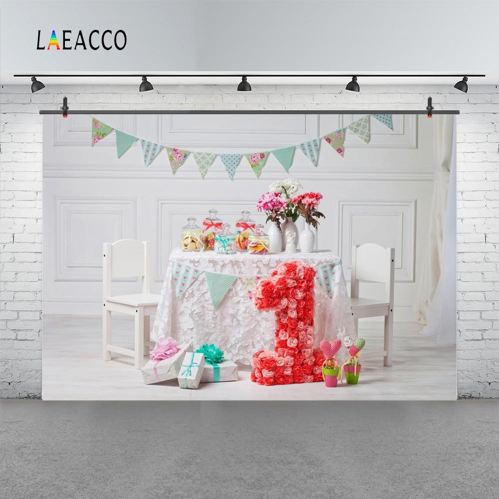 Laeacco Baby 1 Födelsedag Flaska Blomster Inredning Present Flagg - Kamera och foto - Foto 3