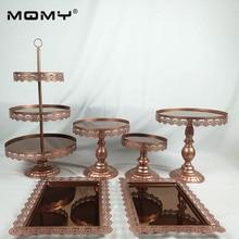 6PCS/ Set Crystal Metal Cake Stand Holder Cupcake Serving Display Rack Birthday Party Wedding Decoration