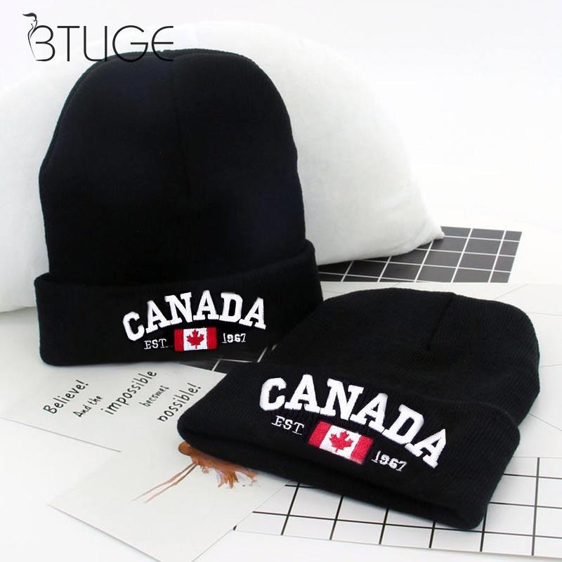 2019 Antumn Winter Woman Man Warm Knitted Hats Black Canada Letter   Skullies     Beanies   Knit Hat Crochet Cap