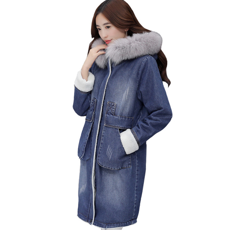 Women Jackets Winter Hooded Fur Collar Oversized Cotton Denim Jacket Warm Thicken Long Jeans Coat Female Long Outerwear 596 winter jacket female parkas hooded fur collar long down cotton jacket thicken warm cotton padded women coat plus size 3xl k450