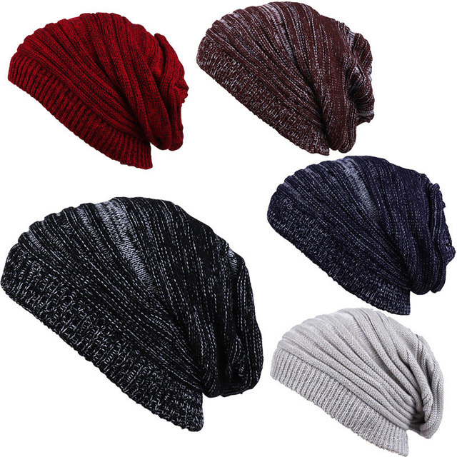 bf572117d80 Light Weight 100% Acrylic Soft Vintage Knit Skull Cap Oversized Baggy  Slochy Beanie Hats for