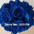 50X Royal Blue Roses Искусственные Цветы DIY Свадебные Свадебный Букет Свадебный Centerpices Оптовые Много