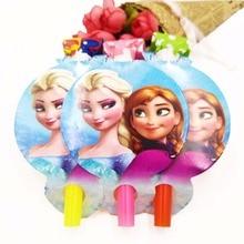 6pcs/set  Frozen Elsa And Anna Party Supplies Blowout Cartoon Horn Kids Birthday Decoration Theme