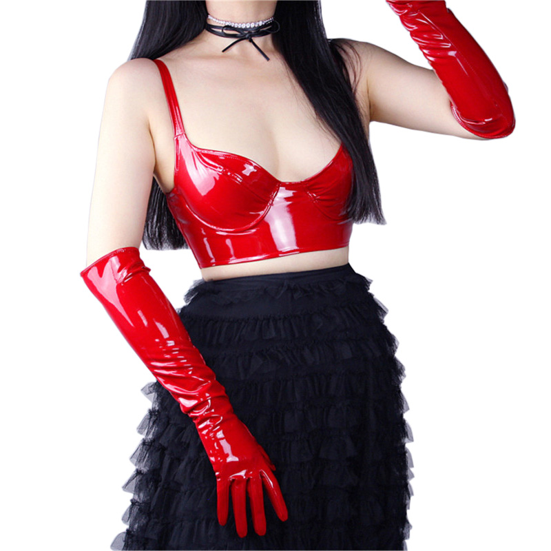 Patent Leather Gloves Female Bright Red Extra Long Imitation Genuine Leather 50cm Unlined Sexy Cosplay Woman Mittens PU25 in Women 39 s Gloves from Apparel Accessories