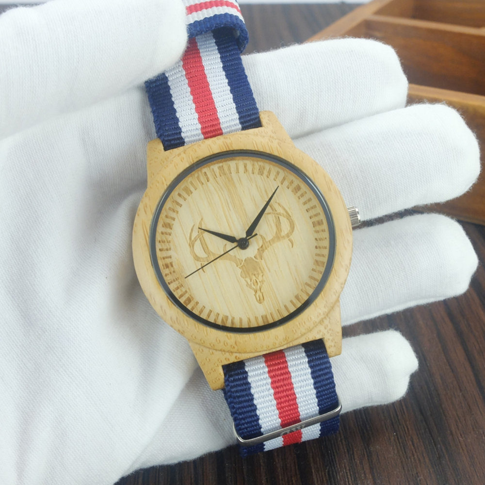 2017 New Arrival Wood Watch Mens Womens Designer Nylon band Watches Fashion Luxury Bamboo Wooden Deer Watch as gift
