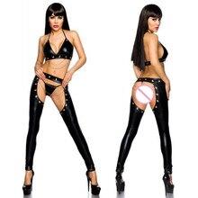 Seksi wetlook Faux Deri Catsuit PVC Içi Boş Tulum Lateks giyisi Açık Crotch Clubwear fetiş sıcak erotik iç çamaşırı bodysuit
