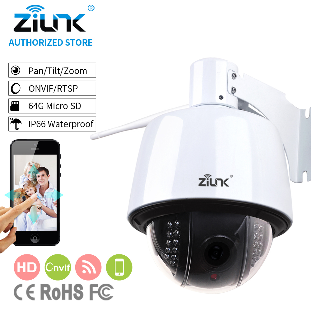 ZILNK 1080P Full HD PTZ Speed Dome IP Camera 5x Optical Zoom Waterproof WiFi Support TF Card Motion Detection ONVIF H.264 White 7 waterproof middle speed ptz ip dome camera 150m ir night vision 20x optical zoom ip66 4mp ptz ip dome camera with wiper