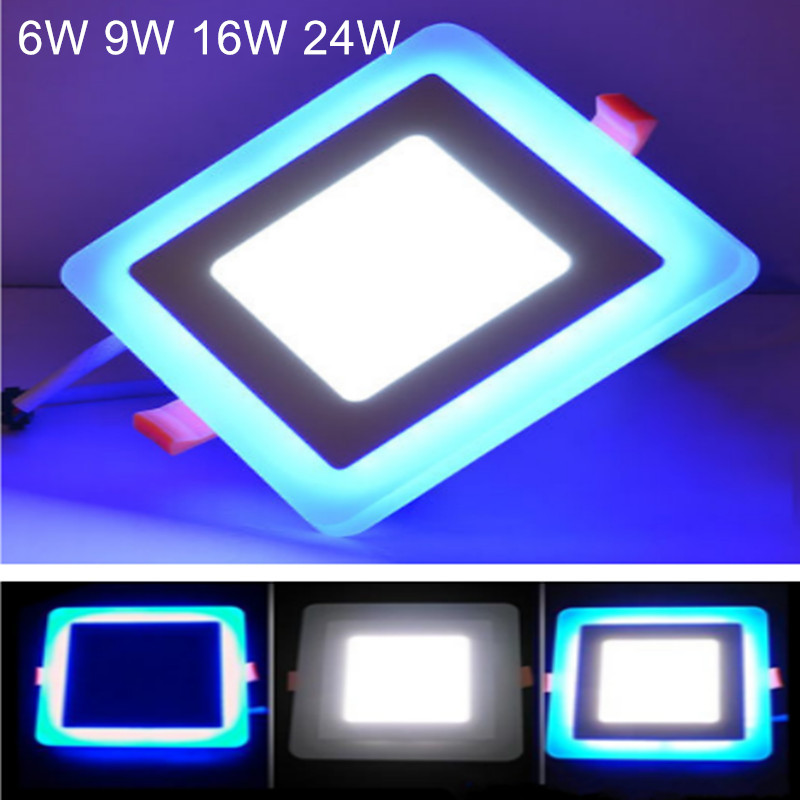 6W 9W 16W 24W LED Ceiling Panel Lamp Ultra Slim Panel Light Double Color Warm White / Cold White + Blue AC85-265V LED Panel