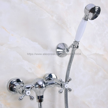 цена на Bathroom Faucet Chrome Bath Faucet Mixer Tap With Hand Shower Head Shower Faucet Set Wall Mounted Nna279