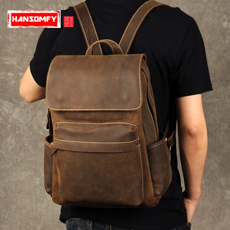 The Crazy Horse Leather Men Backpack retro casual male Genuine leather travel bag simple tide school large capacity Laptop Bags браслеты противобуксовочные вездеход 5 2 штуки