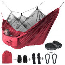 Single Person Portable Outdoor Camping Hammock With Mosquito Net 8pc accessories Adult Sleeping Bed Picnic Hanging
