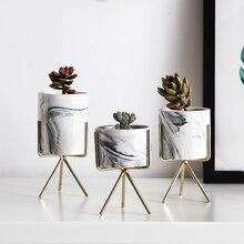 Marble Ceramic Tabletop Flower Pot Decor
