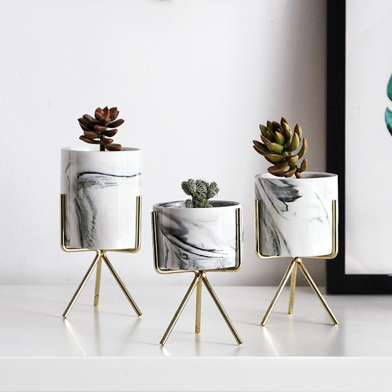 Nordic estilo minimalista patrón de mármol de oro de cerámica de arte MESA DE pote de flor boda casa habitación Decoración