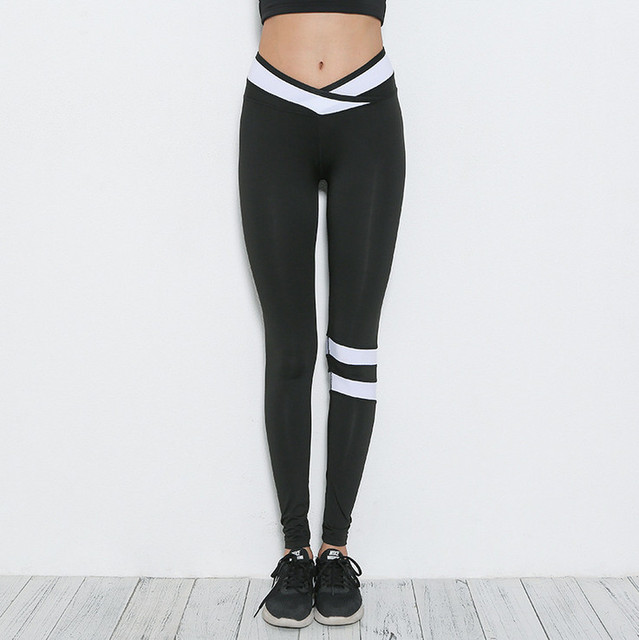 830972dd8ef3a Letter Print Yoga Tights Black And White Collision Women Fitness Sport  Leggings High Elastic Push Up Yoga Pants
