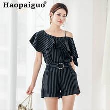 2019 Summer OL Office Work Two Pieces Set One Shoulder Ruffles Blouse and Corset Short Pant 2 Women Floral Wear