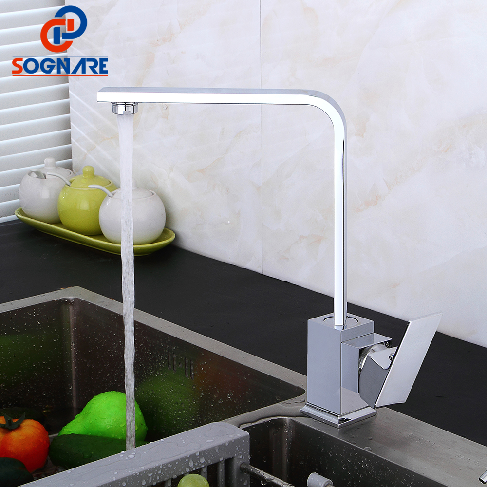 SOGNARE Kitchen Faucets Kitchen Tap Mixers, 360 Rotate Swivel Deck Mounted Sink Mixer Taps Single Handle Faucet torneiras D2310C