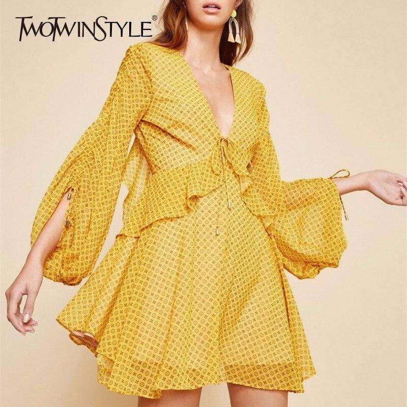 6796fe05b67290 Twotwinstyle De Plage Une Yellow Haute Manches Ruches Cou Taille Mousseline  Lacent Dress Mini Ligne Femmes ...
