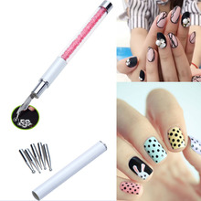 1pc Nal Art Design Pen with 5pcs Dotting Heads Rhinestone Nail Painting Drawing Line Salon Nail Beauty Decoration Tools