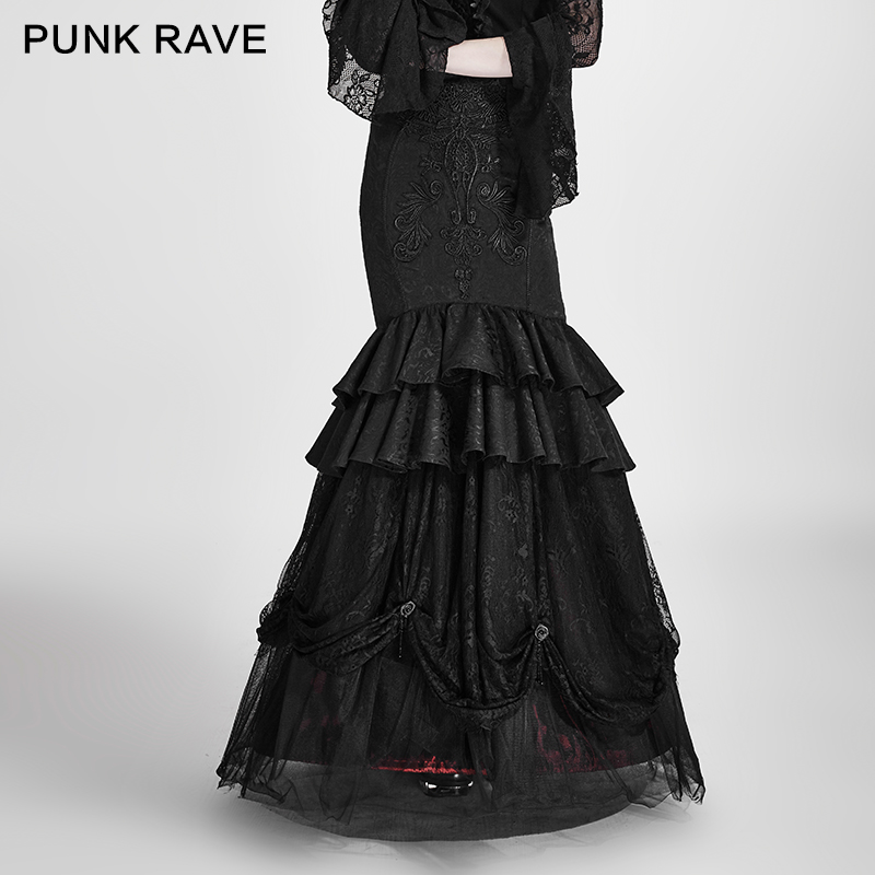 PUNK RAVE Gothic Women Detachable Two-Wear Skirt Steampunk Vintage Sexy Skirt Evening Party Formal Hip Skirts