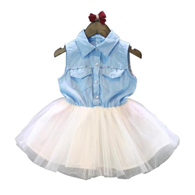 89ac77f0ea4 2018 Summer Girls Dress Sleeveless Denim Kids Dresses Princess Mesh  Clothing For 2 3 4 5 6 7 8 Years Girls Children Clothing