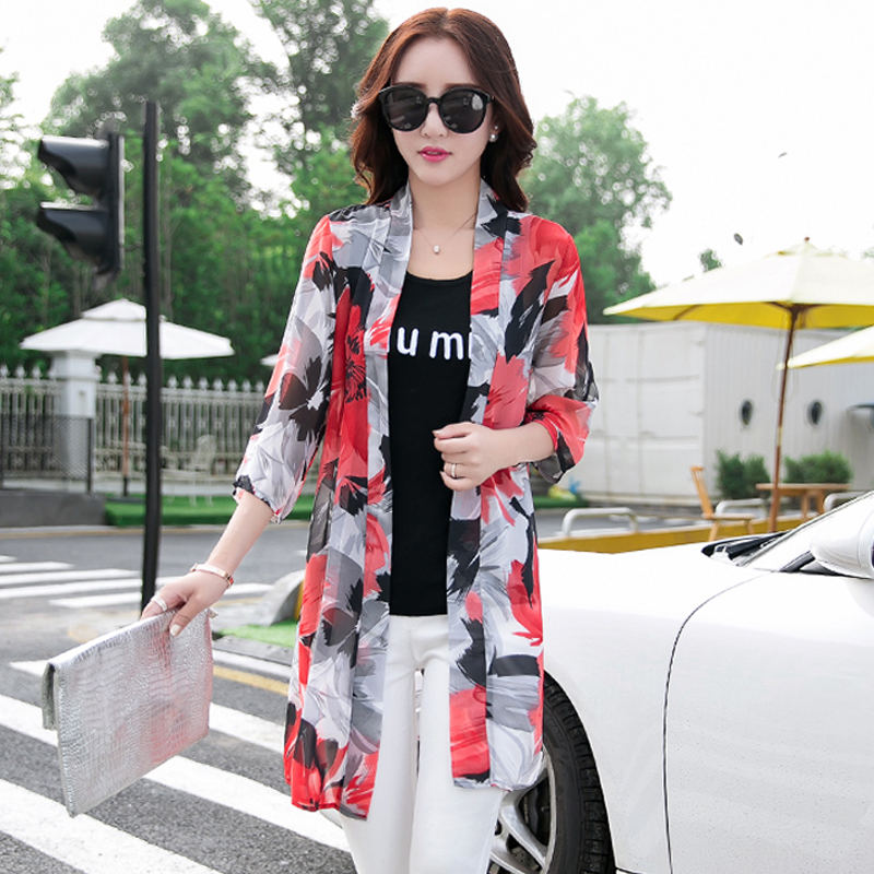Spring Summer Chiffon   Blouse     Shirt   Women Kimono Cardigan Casual Long SunScreen   Blouse     Shirt   Loose Beach Ladies Tops   Blouse   Q1191