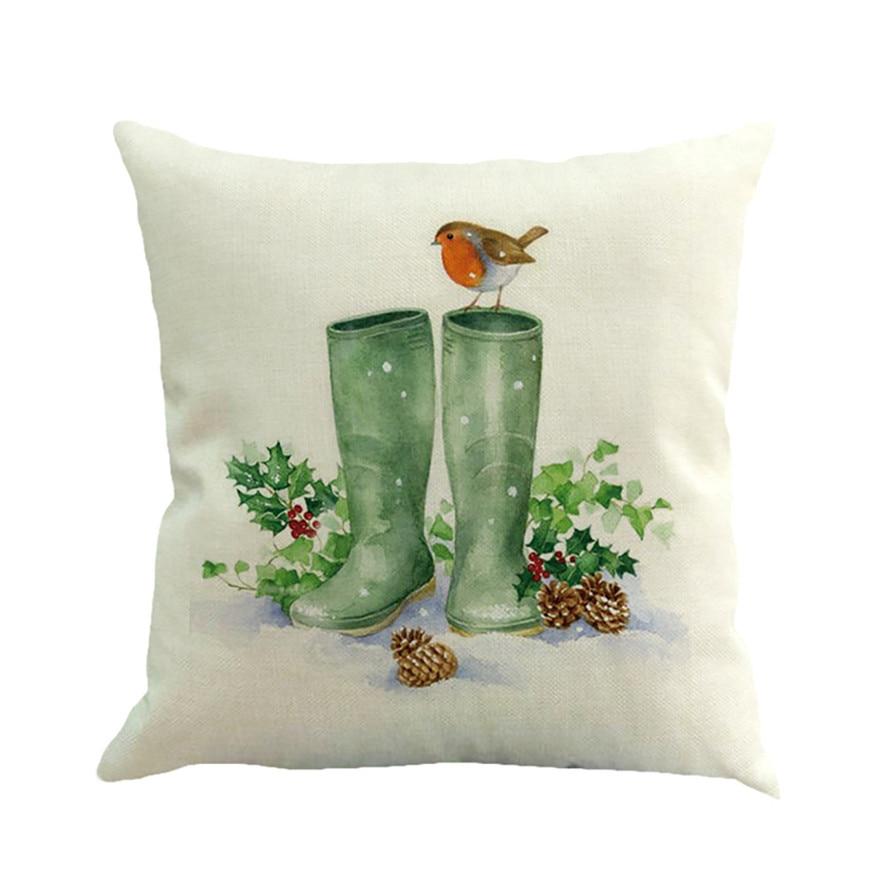 Ouneed Cotton Linen Merry Christmas Pillow Case Printed Decorative Cover Pillowcase for Home Xmas Party Pillow Case 45*45cm #30