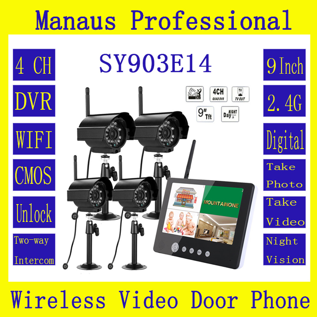 "4PCS Outdoor Indoor Mini Digital HD Cameras & 9 "" LCD Monitor High Quality DVR Wireless Kit Video Door Intercom Security System"