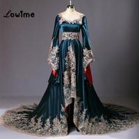 Real Sample Dubai Kaftan Appliqued Long Evening Gowns Caftan Abaya In Dubai Long Sleeve Arabic Dress Muslim Evening Dress 2018