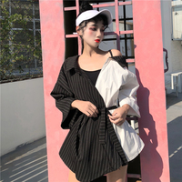 Korean Style Women Casual Off One Shoulder Tops Vintage Striped Office Ladies Clothes With Belt Harajuku Bandage Female Blouse