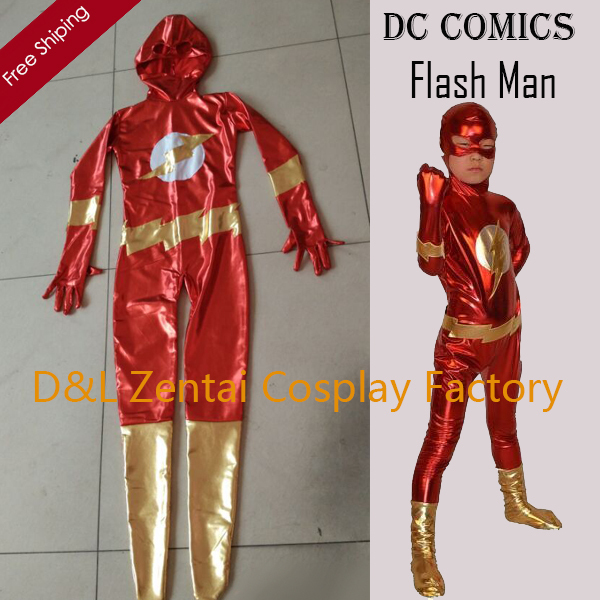 Free Shipping DHL Children Shiny Mettalic Second Skin Flash Super Hero Halloween Costumes Kids Christmas Bodysocks KC2061