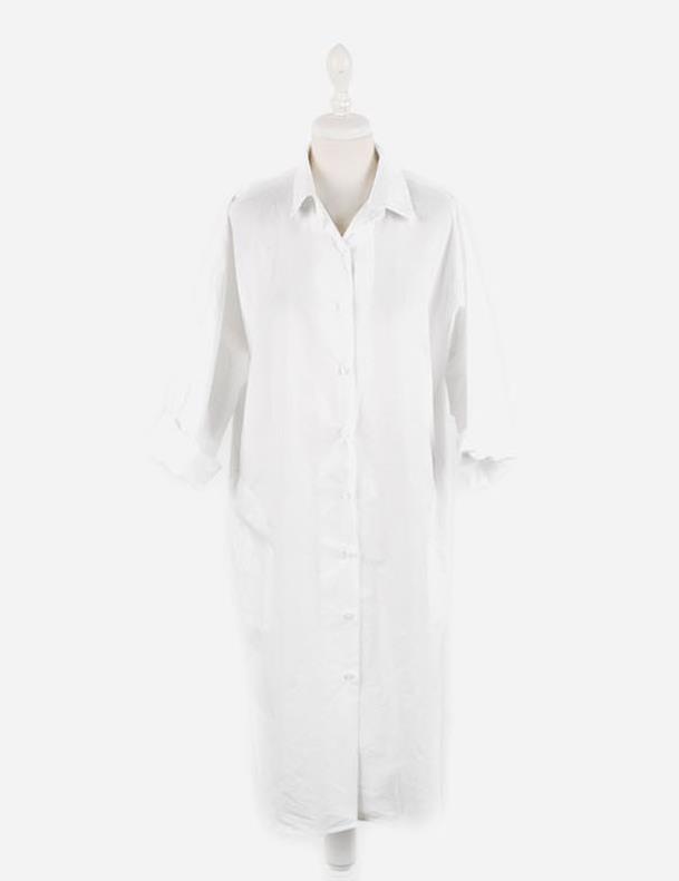 New arrived summer loose white cotton women Dress elegant shirt dress casual plus size asymmetric maxi solid dress 1