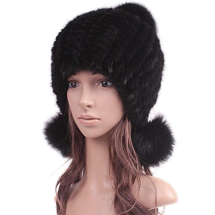 Woman Winter Plus Size Thicken Protect Ear Mink Fur Hats Lady Oversized Elasticity Weaving Warm Fox   Skullies     Beanies   Fur Cap D12