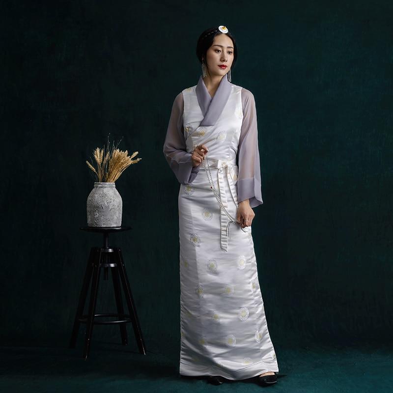 High Quality Cotton Jacquard Tibet Dress Lhasa Lady Summer Unique Robe Tibetan Costume Collection Set Ethnic Minority Clothes
