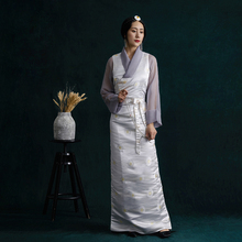 High Quality Cotton jacquard Tibet dress Lhasa Lady summer Unique Robe Tibetan costume collection Set Ethnic minority clothes